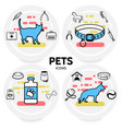 pets line icons concept vector image