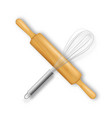 realistic 3d wooden rolling pin and metal vector image vector image