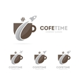 rocket and coffee logo combination vector image vector image