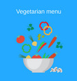 salad bowl and fresh vegetables vector image vector image