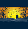 scary cemetery and full moon night background vector image