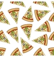 Seamless pattern color pizza with mashrooms vector image