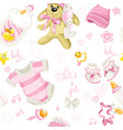 seamless pattern pink clothing bunny toy vector image vector image