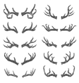 set hand drawn deer horns vector image