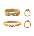 set jewelry items golden rings with pearls vector image