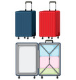 set of luggage on white background vector image vector image