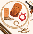 set of wild west cowboy objects isolated on white vector image vector image