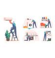 set repair service electrician plumber call vector image