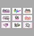 set slogans in girlish concept pink color vector image