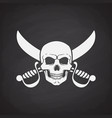 silhouette skull jolly roger with crossed sabers vector image