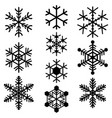 snowflakes symbols icons signs simple black set vector image vector image