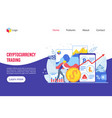 trading platform isometric landing page template vector image vector image