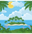 Tropical island with palm and flowers vector image vector image