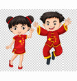 two chinese kids in red costume vector image vector image