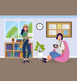 university girl and boy to education knowledge vector image vector image