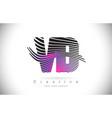 vd v d zebra texture letter logo design vector image vector image