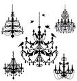 Vintage chandelier set vector image vector image