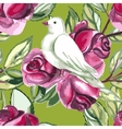 Watercolor seamless pattern with white doves vector image