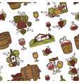 wine and barrels with alcoholic beverage seamless vector image vector image