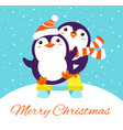 xmas card with two cute cartoon penguins riding vector image