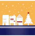 Xmas town on snowing background vector image vector image
