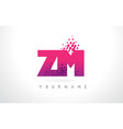 zm z m letter logo with pink purple color and vector image