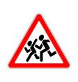 road sign warning children on white background vector image