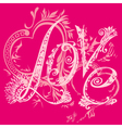 The inscription love and hearts vector image
