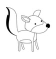 wolf cartoon in black dotted contour vector image