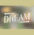 dream -hand drawn lettering blur vector image