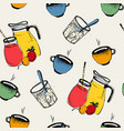 breakfast seamless pattern cold hot drinks with vector image