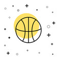 black line basketball ball icon isolated on white vector image vector image