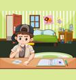 boy doing drugs in bedroom vector image
