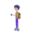 boy rides on segway personal transporter gyroboard vector image vector image