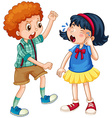 Boy teasing little girl vector image