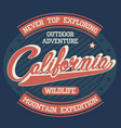 california explore sport wear t-shirt typography vector image vector image
