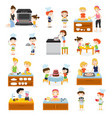 cartoon kids cooking collection vector image vector image