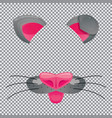 cat face template for video chat on transparent vector image