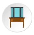 chest of drawers with mirror icon circle vector image vector image