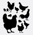 Chicken rooster hen animal silhouettes vector image vector image