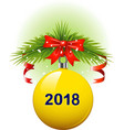 christmas ball 2018 vector image vector image