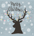 christmas template with silhouette reindeer vector image