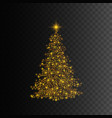 christmas tree gold glitter light effect vector image