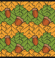 color seamless pattern with oak leaves and acorns vector image
