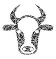 cow head collage of triangles vector image