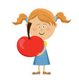 cute little girl holding a big red apple vector image