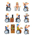 disabled man in wheelchair in different situations vector image vector image
