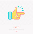 easy concept finger clicking thin line icon vector image vector image