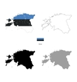 Estonia country black silhouette and with flag on vector image vector image