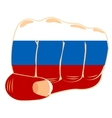 Flag to russia on fist vector image vector image